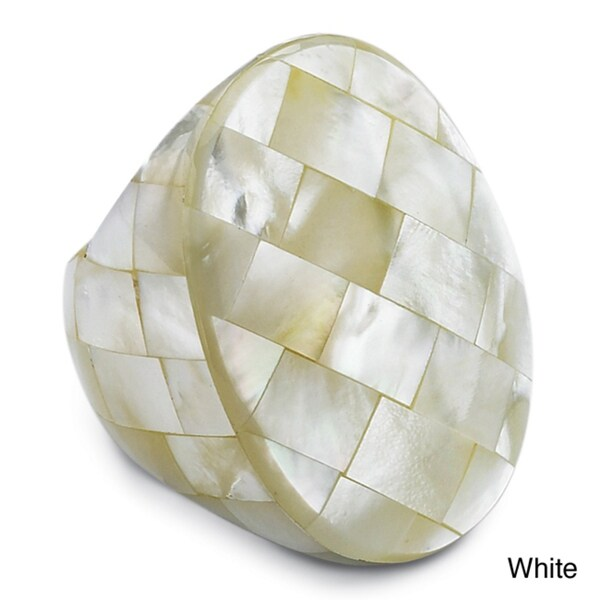 PalmBeach Genuine White Mother-Of-Pearl Oval-Shaped Tiled Ring Naturalist