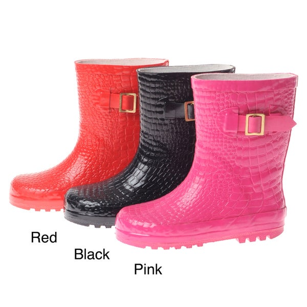 Henry Ferrera Girls' Croco Embossed Rubber Rain Boots