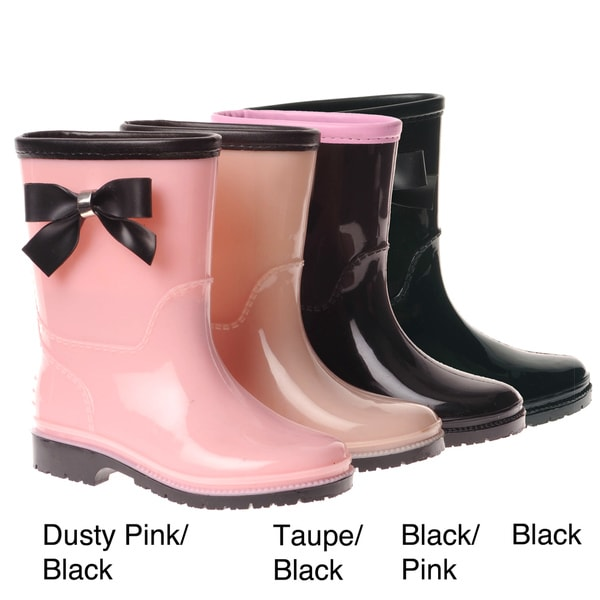 Henry Ferrera Girls' Bow Detail Rubber Rain Boots