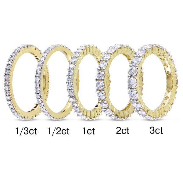 Miadora 14k Yellow Gold TDW Diamond Eternity Ring (G-H, I1-I2)