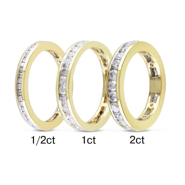Miadora 14k Yellow Gold TDW Certified Channel-set Diamond Band