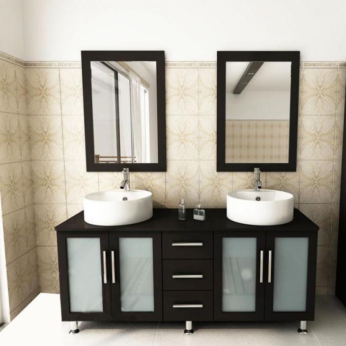 Shop Kokols Modern Double 60 Inch Free Standing Bathroom Vanity