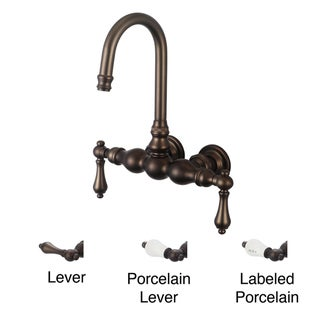 Water Creation Oil Rubbed Bronze Classic 3 3/8-inch Center Wall Mount Gooseneck Spout Tub Faucet and Straight Wall Connector