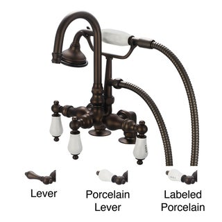 Water Creation Oil Rubbed Bronze 3 3/8-inch Center Deck Mount Tub Faucet With Gooseneck Spout, 2-inch Risers and Handheld Shower