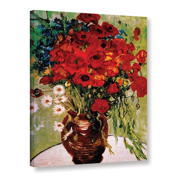 VanGogh 'Dasies and Poppies' Wrapped Canvas - Red/Green