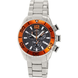 Swiss Precimax Men's Deep Blue Pro II Chronograph Watch with Orange Bezel