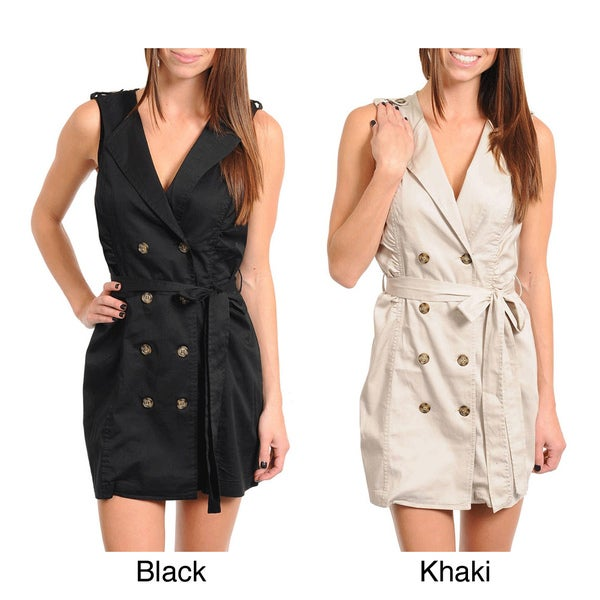 Stanzino Women's Sleeveless V-neck Dress with Waist Tie