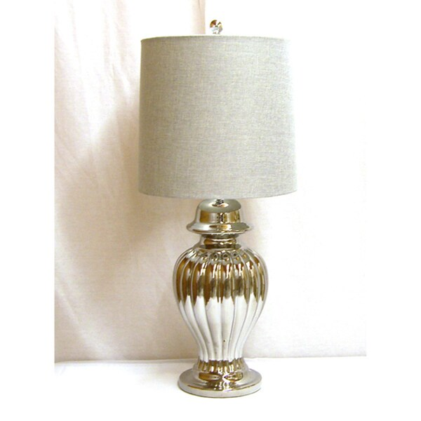 Ribbed Shiny Silver Ceramic Ginger Jar Table Lamp with Grey Linen Drum Lamp Shade