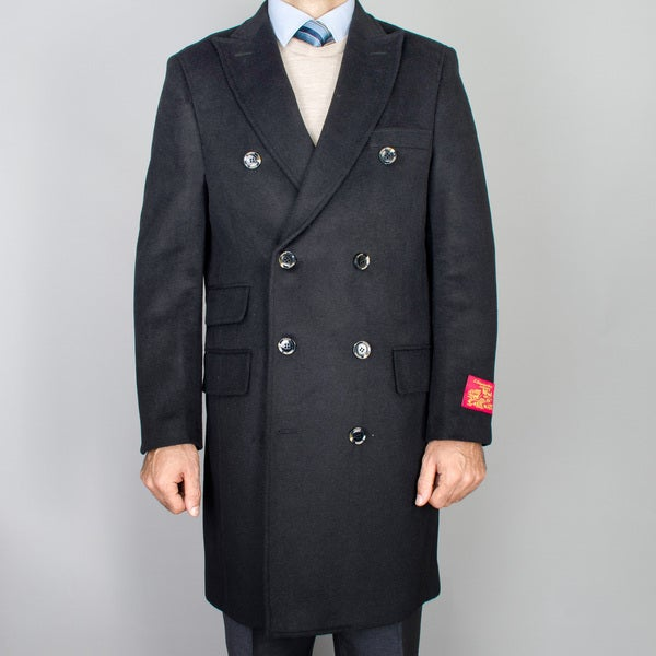 Men's Black Wool-cashmere Double Breasted Topcoat