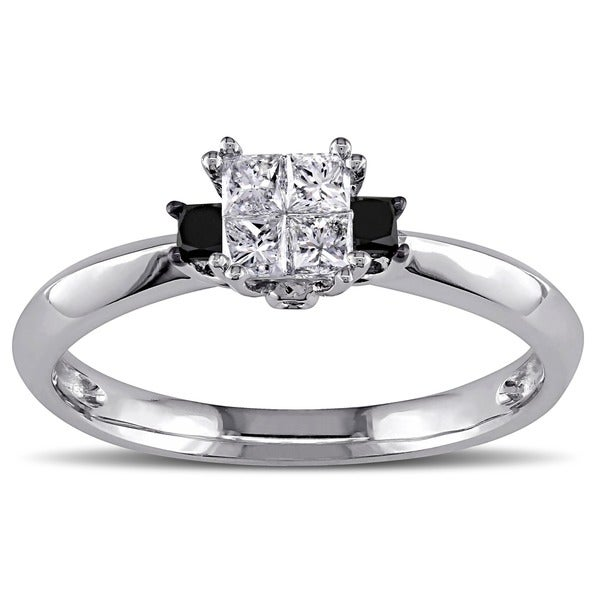 Miadora 14k White Gold 1/3ct TDW Black and White Diamond Ring