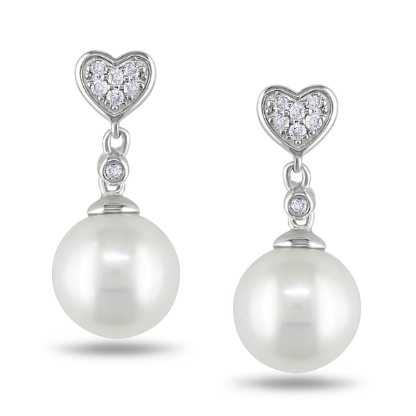 Miadora Sterling Silver Pearl and 1/10ct TDW Diamond Earrings (H-I, I2-I3)