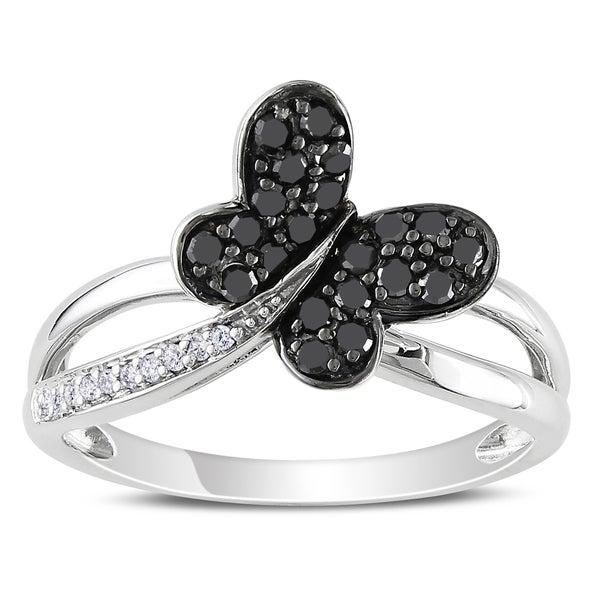 Miadora 10k White Gold 1/4ct TDW Black and White Diamond Ring
