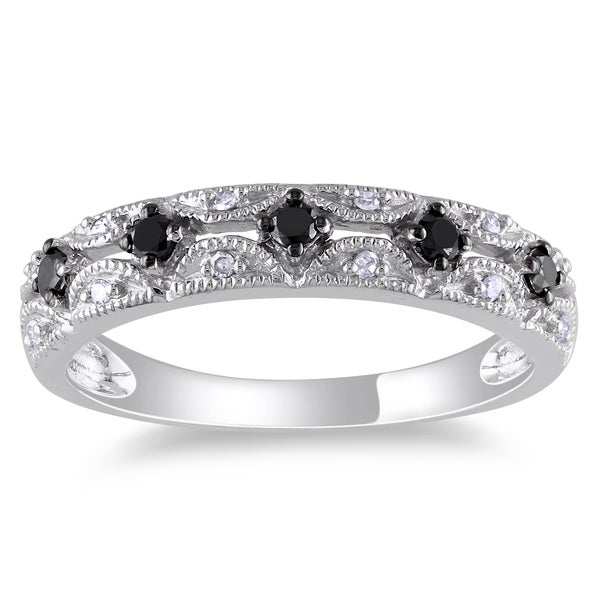 Miadora 10k White Gold 1/5ct TDW Black and White Diamond Ring