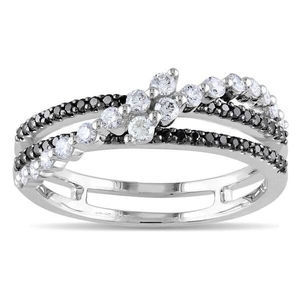 Miadora 14k White Gold 1/2ct TDW Black and White Diamond Ring (G-H, SI1-SI2)