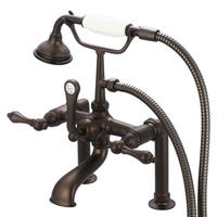 Water Creation Vintage Classic Oil Rubbed Bronze 7-inch Spread Deck Mount Tub Faucet With 6-inch Risers and Handheld Shower