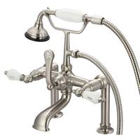 Water Creation Vintage Brushed Nickel Classic 7-inch Spread Deck Mount Tub Faucet With 6-inch Risers and Handheld Shower