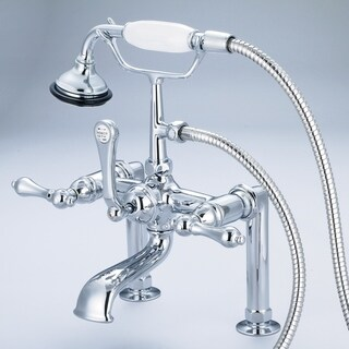 Water Creation Vintage Classic 7-inch Spread Deck Mount Tub Faucet With 6-inch Risers and Handheld Shower in Chrome Finish