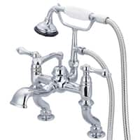 Water Creation Vintage Classic Adjustable Center Deck Mount Tub Faucet With Handheld Shower in Chrome Finish
