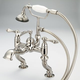 Water Creation Vintage Classic Adjustable Center Deck Mount Tub Faucet with Handheld Shower in Polished Nickel PVD Finish