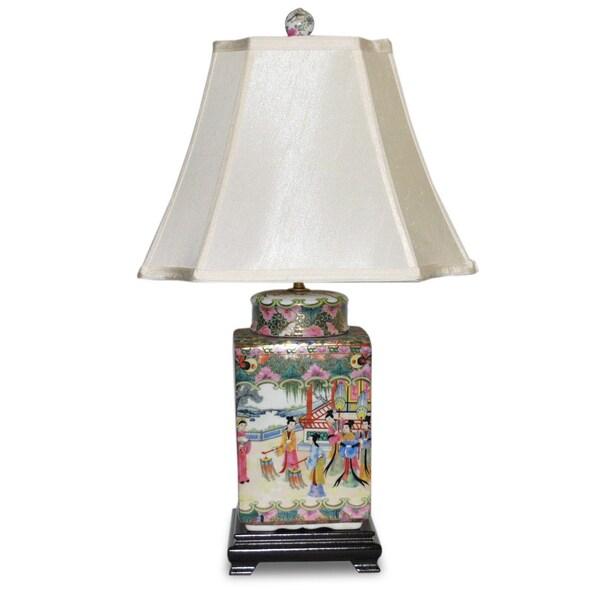 Rose Famille Square Cover Jar Porcelain Table Lamp
