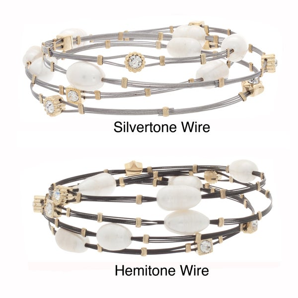 NEXTE Jewelry Shell and Rhinestone Cable Stack Bracelets