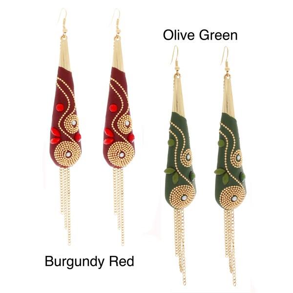 NEXTE Jewelry Goldtone Teardrop Tassel Dangle Earrings