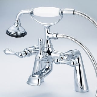 Water Creation Vintage Classic 7-inch Spread Deck Mount Tub Faucet With Handheld Shower in Chrome Finish