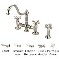 Water Creation Bridge Style Polished Nickel PVD Finish Kitchen Faucet with Side Spray