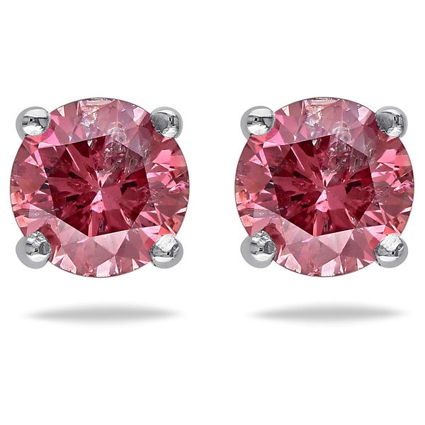 Miadora 14k White Gold 3/4ct TDW Pink Diamond Solitaire Earrings