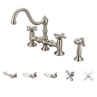Water Creation Bridge Style Brushed Nickel Finish Kitchen Faucet with Side Spray