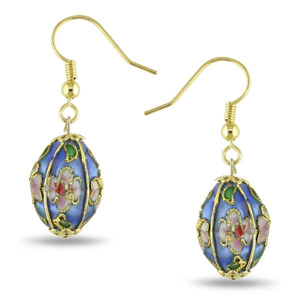 Goldtone Blue and White Enamel Large Oval Bead Earrings