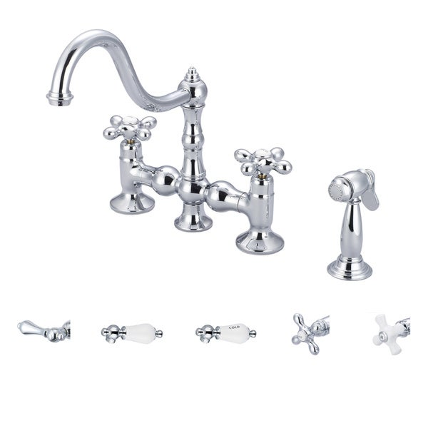 Water Creation Bridge Style Chrome Finish Kitchen Faucet with Side Spray