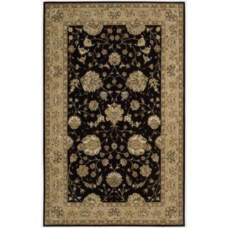 Nourison 2000 Hand-tufted Kashan Black Wool Rug