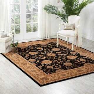 Nourison 2000 Hand-tufted Kashan Black Wool Rug