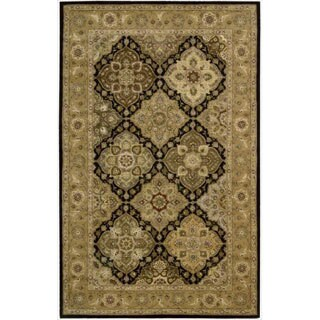 Nourison 2000 Hand-tufted Panel Black Wool Rug