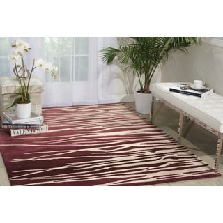 Nourison Lakeside Hand-tufted Berry/Beige Striped Rug