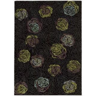 Nourison Parallels Black Floral Rug