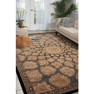 Nourison 2000 Hand-tufted Medallion Slate Wool Rug