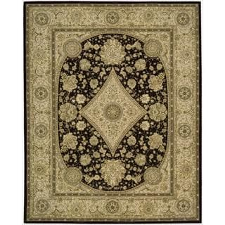 Nourison 2000 Hand-tufted Diamond Black Wool Rug