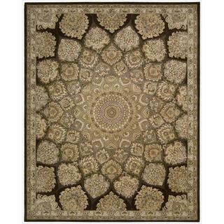 Nourison 2000 Hand-tufted Medallion Brown Wool Rug