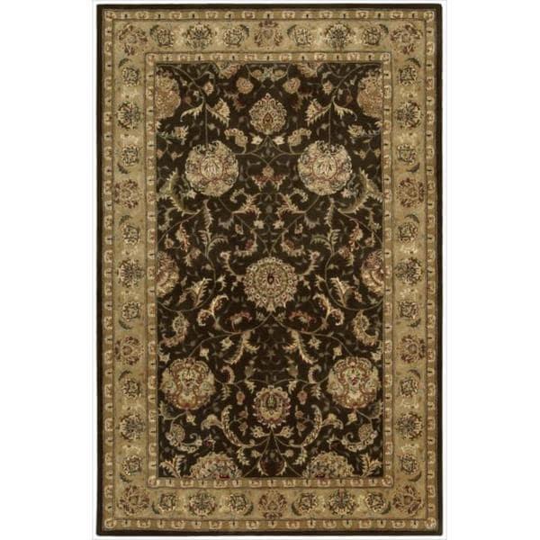 Nourison 2000 Hand Tufted Wool Silk Kashan Brown Rug