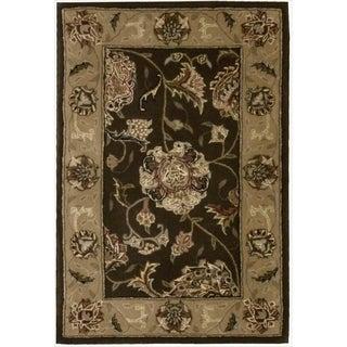 Nourison 2000 Hand Tufted Wool Silk Kashan Brown Rug (Option: Octagon)