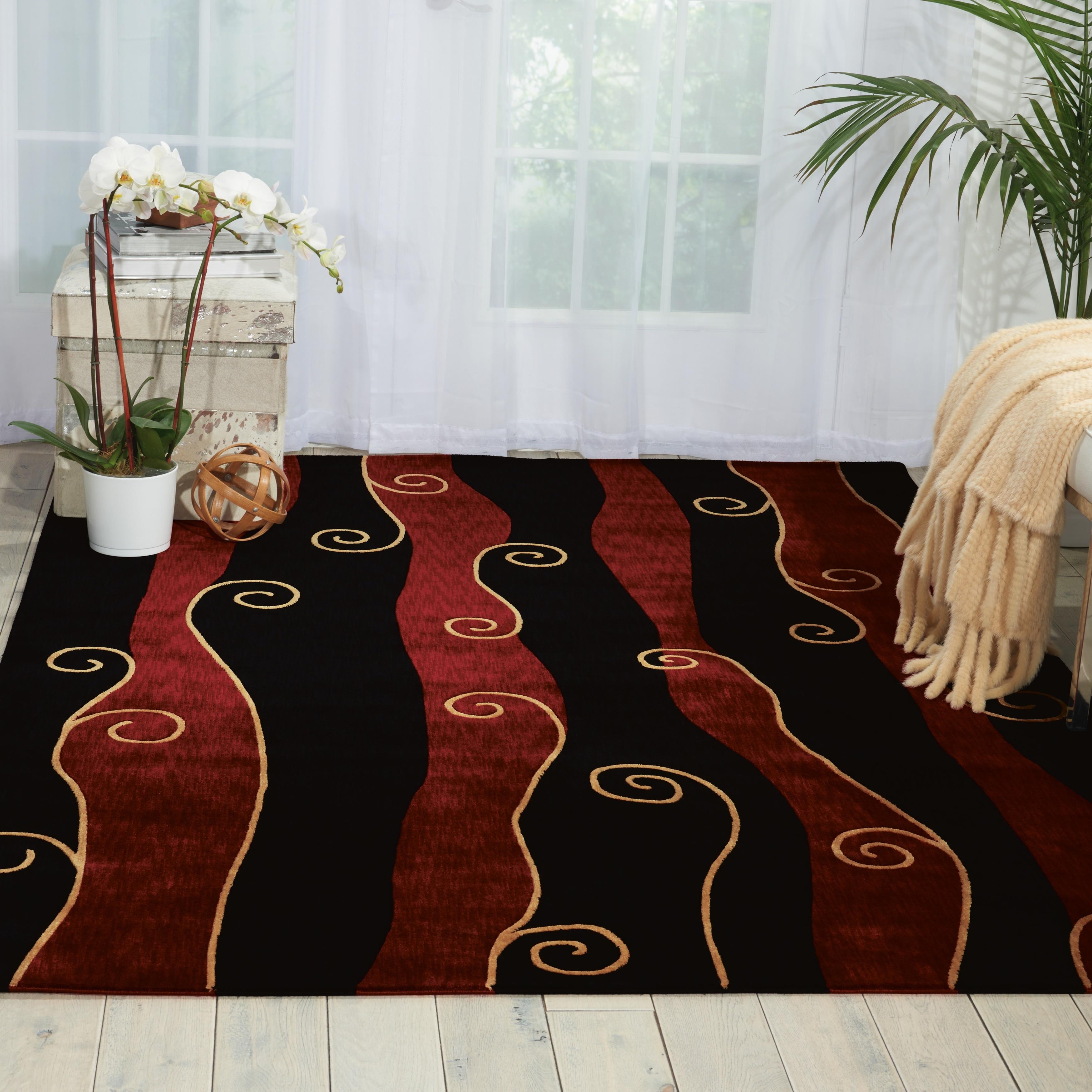 Nourison Parallels Swirl Pattern Black/Red Rug (2' x 5'9-...