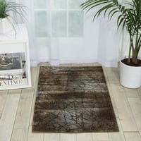 Nourison Parallels Netting Pattern Chocolate Rug