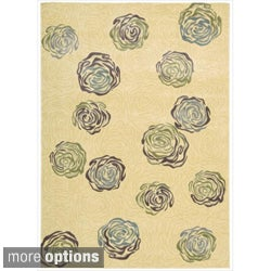 Nourison Parallels Velvet Floral Ivory Rug (More options available)
