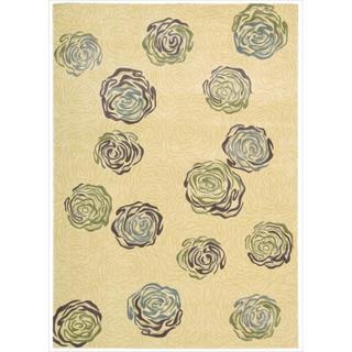 Nourison Parallels Velvet Floral Ivory Rug