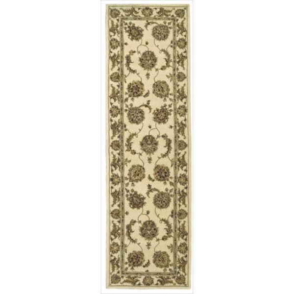 Nourison 2000 Hand-tufted Kashan Ivory Wool Rug (8' Round)