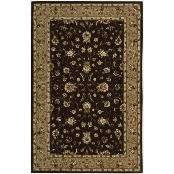 Nourison 2000 Hand-tufted Kashan Brown Wool Rug - 7'9 x 9'9