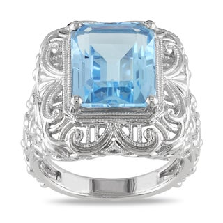 Miadora Sterling Silver Blue Topaz Cocktail Ring