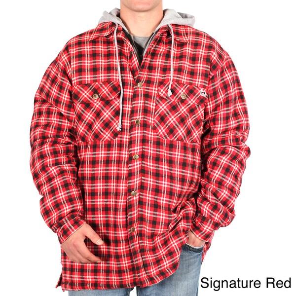 Farmall IH Men's Plaid Flannel Hooded Shirt-Jacket
